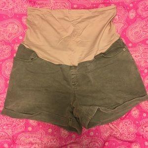 Olive green Liz Lange maternity shorts